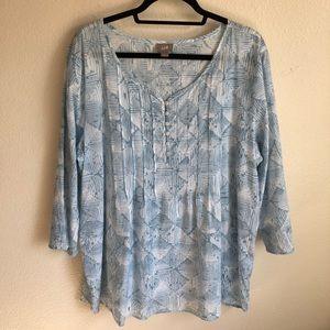 J. Jill Cotton Pattern Tunic Blouse